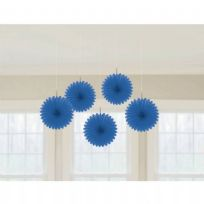 Royal Blue Mini Paper Fans (5)
